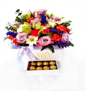 Creativa Caja floral (con gabeta) y chocolates.